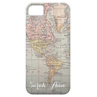 Wanderlust world map smartphone case  cutom Name