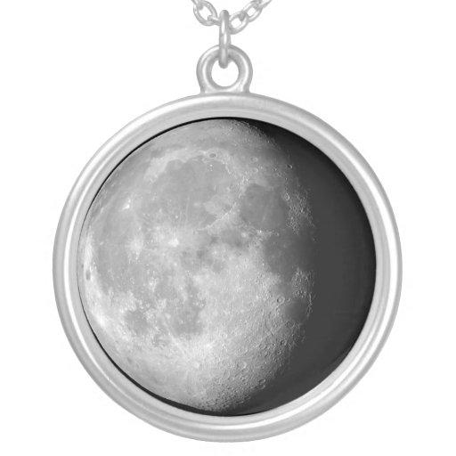 Waning gibbous moon necklace