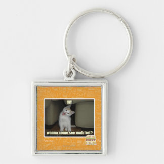 Wanna come see mah fort? Silver-Colored square key ring