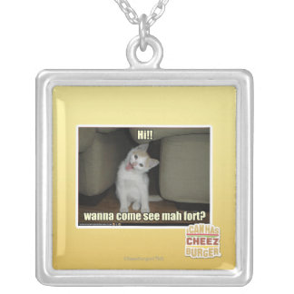 Wanna come see mah fort? silver plated necklace