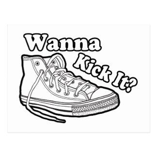 Wanna Kick It Sneakers Postcard