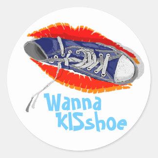 Wanna KISshoe Classic Round Sticker