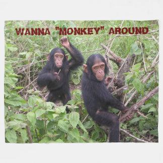 "WANNA ""MONKEY"" AROUND FLEECE BLANKET"