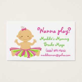 Wanna play? Mommy playdate card for baby girl.