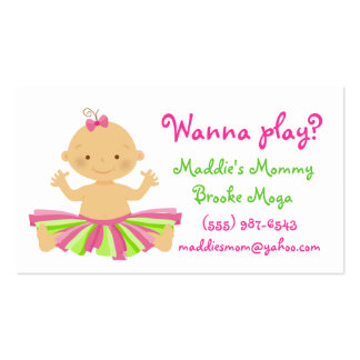 Wanna play? Mommy playdate card for baby girl. Pack Of Standard Business Cards