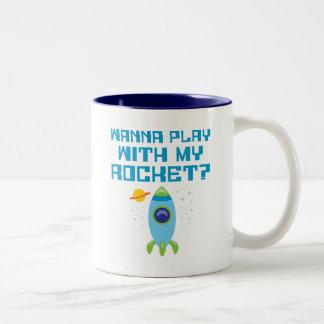 Wanna Play With My Rocket Two-Tone Mug
