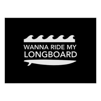 Wanna Ride My Longboard Poster