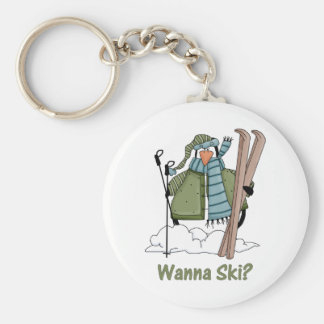 Wanna Ski? Penguin Tees and Gifts Basic Round Button Key Ring