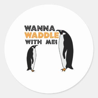 Wanna Waddle Round Stickers