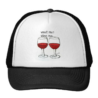 """WANT ME? WINE ME."" FUN RED WINE SAYING HATS"