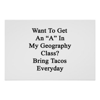 Want To Get An A In My Geography Class Bring Tacos Poster
