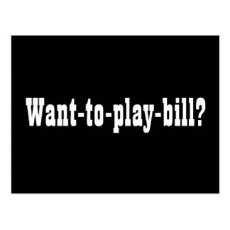 Want-to-play-bill? Autograph Collectors Card Postcard