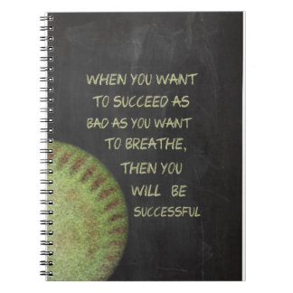 Want To Succeed Fastpitch Softball Motivational Spiral Note Book