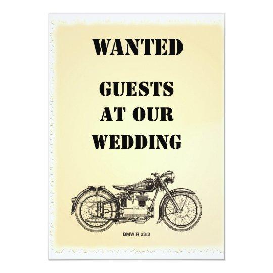 WANTED biker wedding invitation