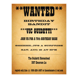 Wanted Birthday Surprise 21.5 Cm X 28 Cm Flyer