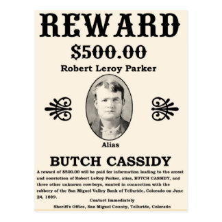 Wanted Butch Cassidy Postcard