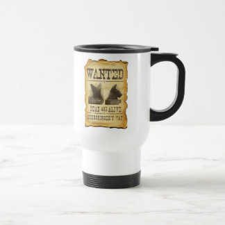 Wanted dead and alive.  Schroedinger's cat. Stainless Steel Travel Mug