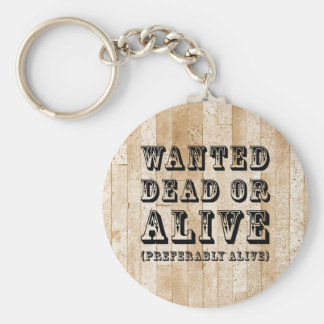 Wanted Dead or Alive Basic Round Button Key Ring