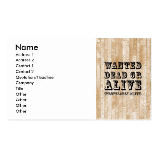 Wanted Dead or Alive Pack Of Standard Business Cards