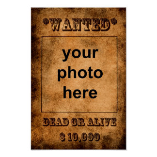 'Wanted, dead or alive' poster template