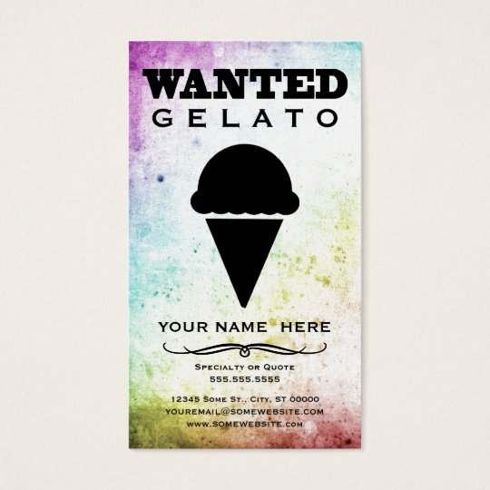 wanted : gelato business card