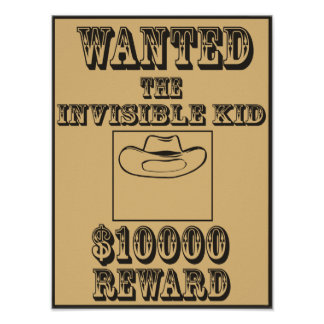 Wanted Invisible Kid Poster