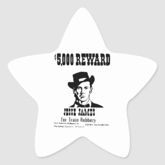 Wanted Jesse James Star Sticker
