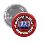 Wanted: Koch Brothers 3 Cm Round Badge
