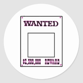 Wanted Magenta The MUSEUM Zazzle Gifts Round Sticker