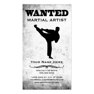 wanted martial artist business cards