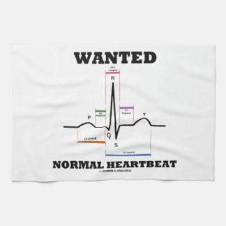 Wanted Normal Hearbeat (ECG/EKG Electrocardiogram) Tea Towel