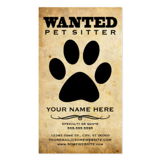 wanted pet sitter poster pack of standard business cards