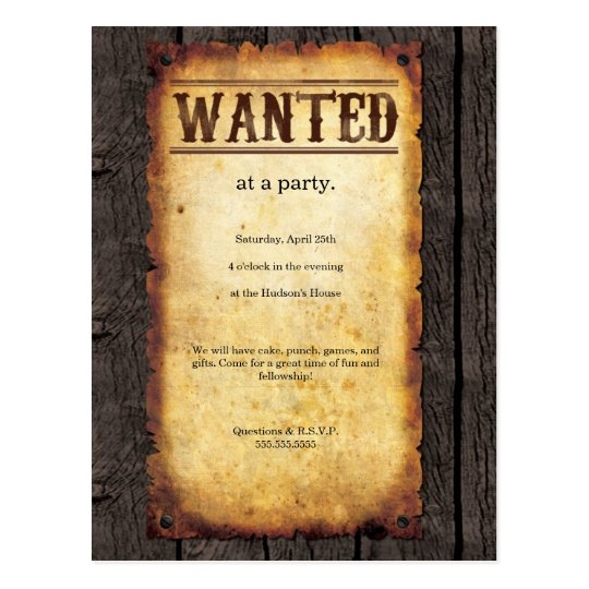 Wanted Poster Invitations | Zazzle.co.uk