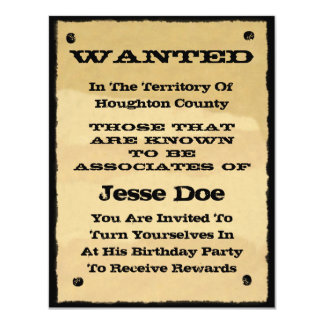 Wanted Poster Invitations Fun Western Cowboy Party