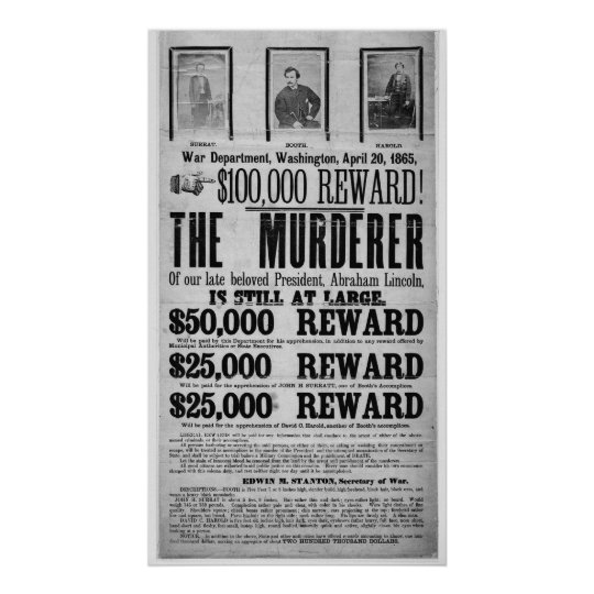 Wanted Poster Lincoln Assassination Conspirators