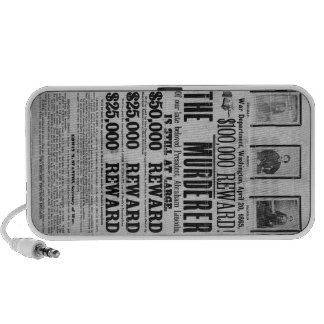 Wanted Poster Lincoln Assassination Conspirators Travelling Speakers