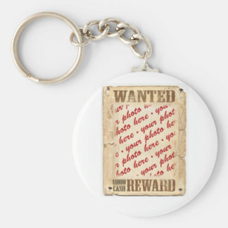 WANTED Poster Photo Frame Basic Round Button Key Ring