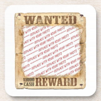 WANTED Poster Photo Frame Template Beverage Coaster