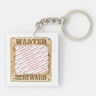 WANTED Poster Photo Frame Template Double-Sided Square Acrylic Key Ring