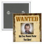 Wanted Poster, Vintage Picture Frame Buttons