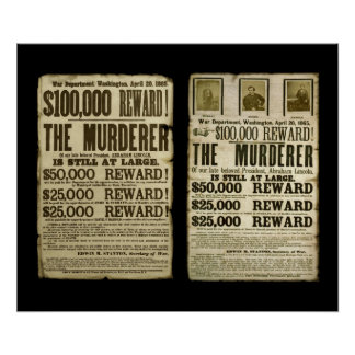 Wanted/Reward Poster Duo: Booth, Surratt, Harold