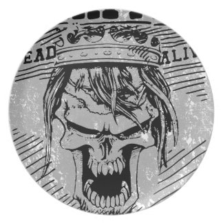 Wanted Skull King Skeleton Dinner Plate