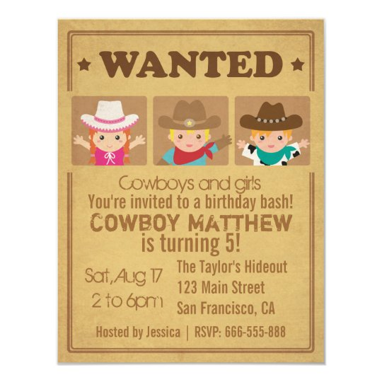 Wanted Vintage Poster Cowboys and girls Party Card