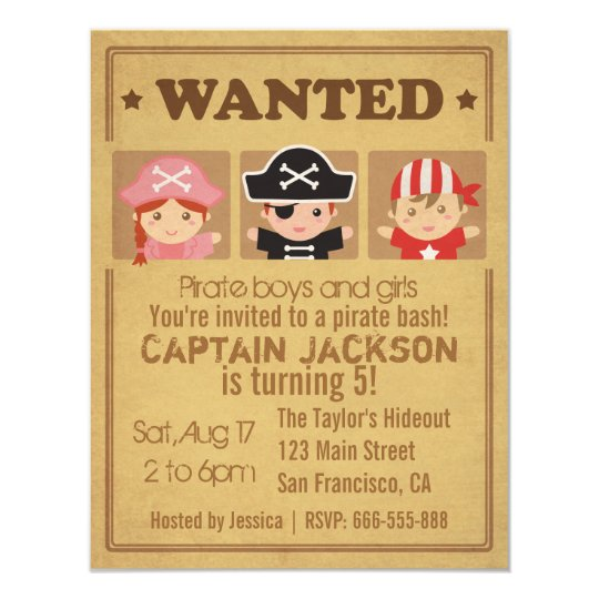 Wanted Vintage Poster Pirates Boys and Girls Party