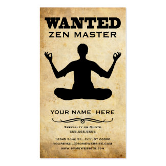 wanted : zen master pack of standard business cards