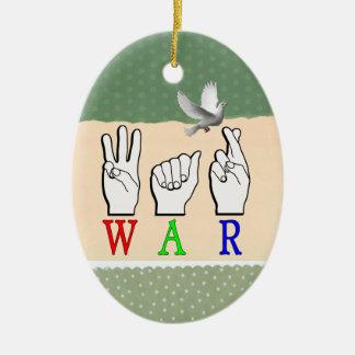 WAR ASL FINGERSPELLED NAME SIGN CERAMIC OVAL DECORATION