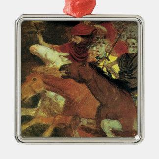 War by Arnold Bocklin, Vintage Symbolism Fine Art Silver-Colored Square Decoration