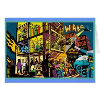 War in the Neighborhood Cartoon Art Greeting Card
