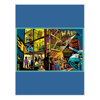 War in the Neighborhood Cartoon Art Post Card
