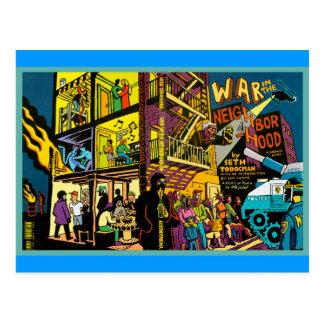 War in the Neighborhood Cartoon Art Postcards